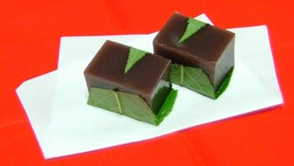 Adzuki bean - Yōkan (羊羹) is a thick Japanese jellied dessert made of adzuki bean paste, agar, and sugar