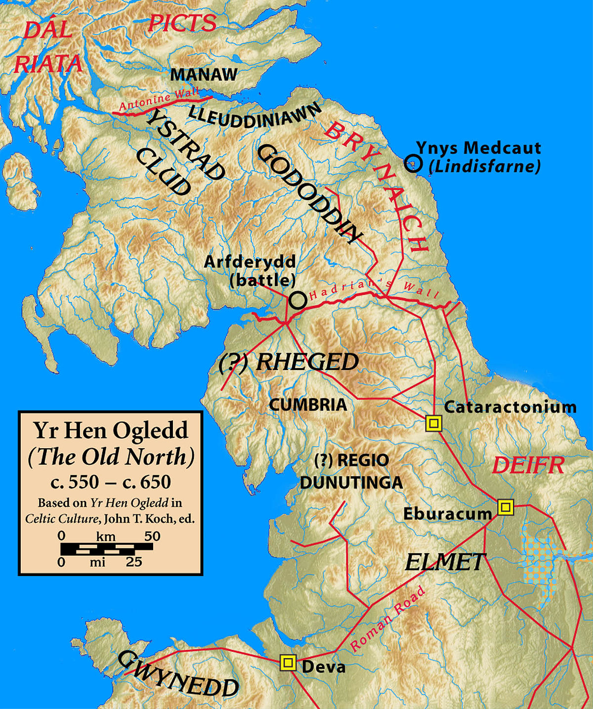 Map Of North England And Scotland.Hen Ogledd Wikipedia