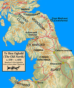 Map of northern Britain in around 600 AD