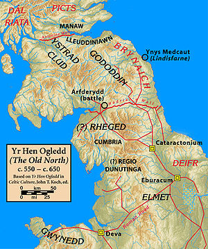 Edinburgh Castle - Map of northern Britain showing the Gododdin and other tribes c.600 AD