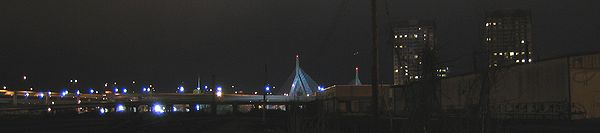 A view of the Leonard Zakim bridge from the construction site.