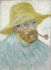 Self-Portrait with Pipe and Straw Hat