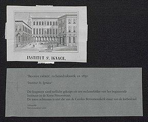 Zicht op het Sint-Ignatiusinstituut te Antwerpen, met de toren van de kathedraal achteraan
