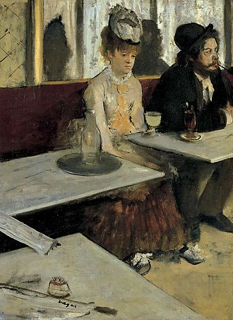 La Nouvelle Athènes - Two figures at the Nouvelle Athènes. L'Absinthe, Degas, 1876.
