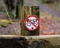 """No cycling"" sign, Crawfordsburn Glen - geograph.org.uk - 1690302.jpg"