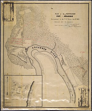 Battle of Arkansas Post - Map and plan of the fortification.