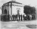 (Recruits in civilian clothes standing in long lines entering main gate at U. S. Naval Training Station, San Diego... - NARA - 295566.tif