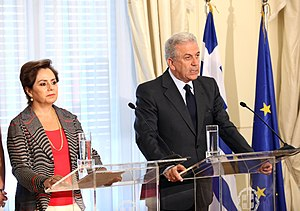 Greece–Mexico relations - Former Foreign Secretary of Mexico Patricia Espinosa and Foreign Minister of Greece Dimitris Avramopoulos in Athens in July 2012