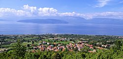 Panoramic view of the village Slivnica, in background Lake Prespa