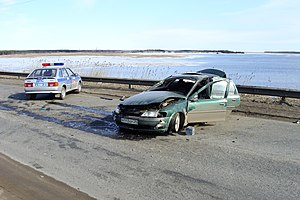 English: Car accident in Russia