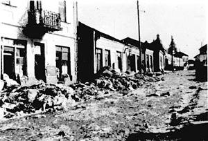 Łuck Ghetto - Ghetto street in Łuck following extermination of Jews, 1942