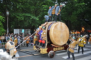 Fuchū, Tokyo - One of the giant drums for the Kurayami festival held at Okunitam Shrine every spring