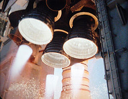 The Space Shuttle Main Engines igniting before liftoff