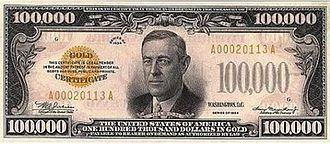 Powers of the United States Congress - Congress has the power of the purse and it can tax citizens, spend money, and authorize the printing of currency such as this bill for $100,000.