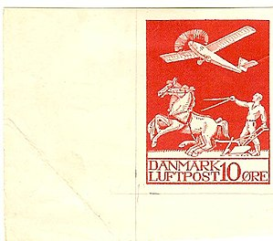 Airmail stamps of Denmark - Image: 10ore Red Proof