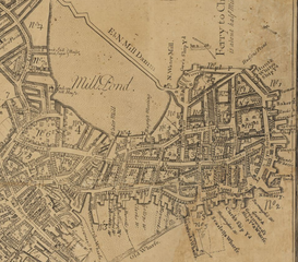 Map of Boston's North End, bristling with wharves, in 1769