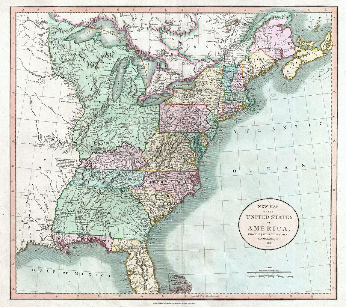 File:1806 Cary Map of the United States east of the Mississippi ...