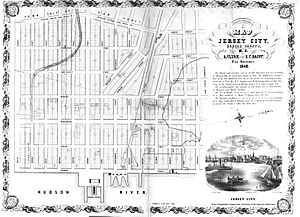 Timeline of Jersey City, New Jersey - Map of Jersey City, New Jersey, 1848