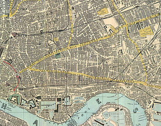 East End of London - 1882 Reynolds Map of the East End. Development has now eliminated the open fields pictured on the map.