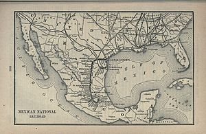 National Railroad of Mexico - Poor's 1891 map of the system