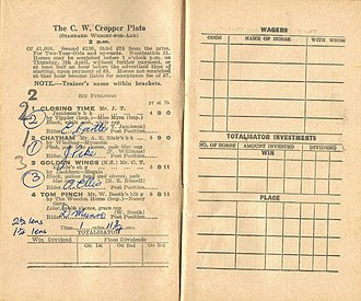 Chatham (horse) - 1934 AJC Cropper Plate Racebook.