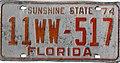 1974 Florida license plate 11WW~517.jpg
