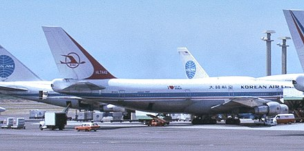 A photograph of Korean Air Lines HL7442, the airliner shot down by Soviet aircraft after drifting into prohibited airspace during the KAL 007 Flight. 1981-09-15 12-00-00 United States Hawaii Aliamanu 2 (cropped).jpg