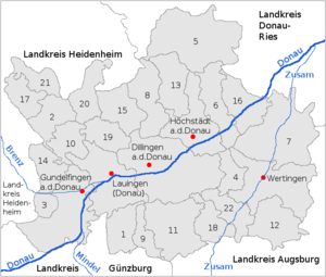 Dillingen (district) - The district (Landkreis) of Dillingen – numbers in the map: see also the opposite list
