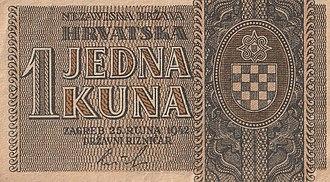 Independent State of Croatia kuna - Image: 1 kuna 25 rujna 1942a