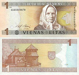 Lithuanian litas - Image: 1 litas (1994)