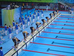 Modern pentathlon at the 2008 Summer Olympics – Men's - Image: 2008 Olympic Modern penthalton swimming action
