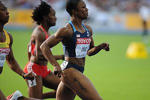 Carmelita Jeter - Jeter running in the World Championships in Berlin