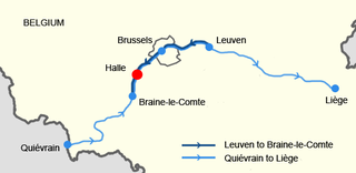 Map showing the route of the trains involved.The site of the accident is indicated by the red dot.