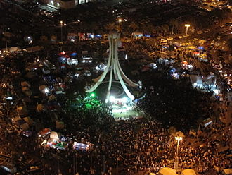 Timeline of the Bahraini uprising of 2011 - Thousands of demonstrators gather in the Pearl Roundabout on March, 9
