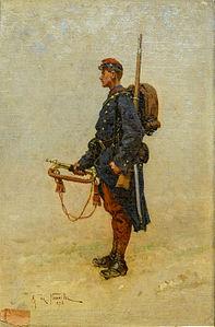 Étude d'uniforme, un clairon de l'infanterie de ligne, by Alphonse Deneuville
