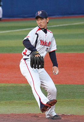 20120503 Ryo Hidaka, pitcher of the Tokyo Yakult Swallows, at Yokohama Stadium.JPG