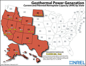 Geothermal energy in the United States - Existing and planned US geothermal power generation, in February 2013