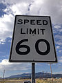 2014-09-15 08 56 40 Speed Limit 60 miles per hour sign along U.S. Route 93 near Ely, Nevada.JPG