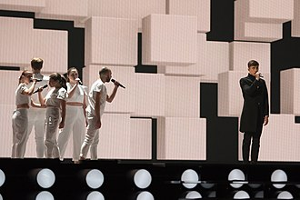 Belgium in the Eurovision Song Contest 2015 - Loïc Nottet at a dress rehearsal for the first semi-final
