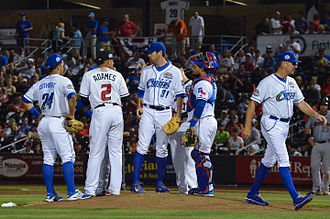 Triple-A (baseball) - 2015 PCL All-Stars meeting on the pitcher's mound
