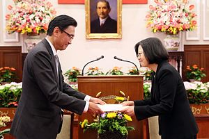 Japan–Taiwan relations - Member of the House of Representative of Japan Keiji Furuya and President Tsai Ing-wen in Taiwan on May 20, 2016.