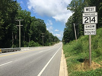Maryland Route 214 - View west along MD 214 in Mayo