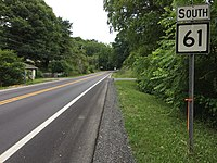 2017-07-21 19 09 40 View south along West Virginia State Route 61 (Mount Hope Road) at West Virginia State Route 16 in MacDonald, Fayette County, West Virginia.jpg
