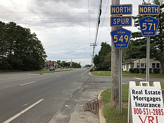 County Route 571 (New Jersey) - CR 549 Spur/CR 571 northbound past Route 37 in Toms River