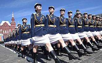 Military academies in Russia - Female cadets on parade.