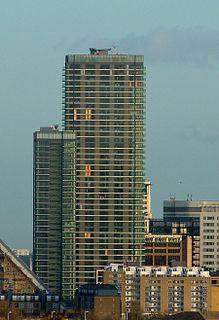 pair of residential skyscrapers in Docklands, London