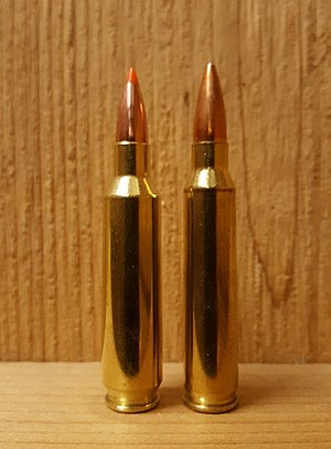 Nosler proprietary cartridges - 22 Nosler (left), .223 Remington (right)
