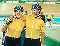 231000 - Cycling track Tania Modra Sarnya Parker celebrate - 3b - 2000 Sydney candid photo.jpg
