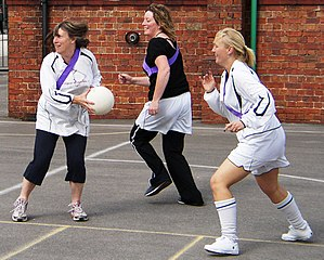 Netball action.
