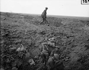Howard Kippenberger -  Men of the 2nd Canterbury Battalion, New Zealand Division, rest in a shell hole on the opening day of the Battle of Flers-Courcelette, 15 September 1916